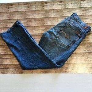 7FAM crop boot cut gem pockets sz 28